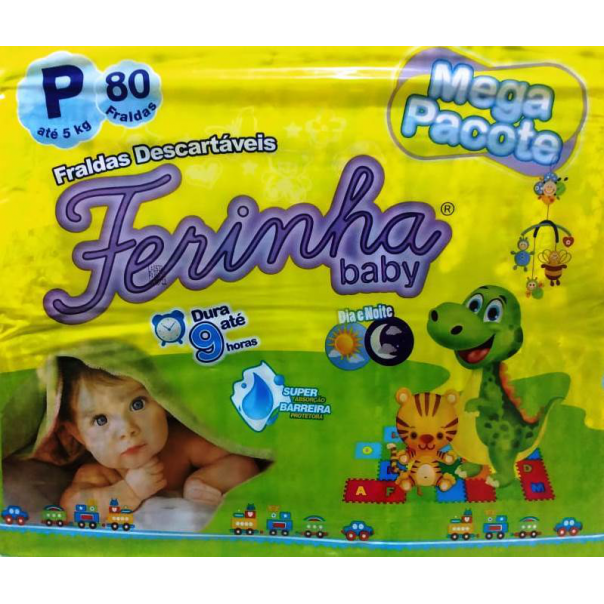 FRALDA INFANTIL FERINHA BABY MEGA P COM 80 UNIDADES