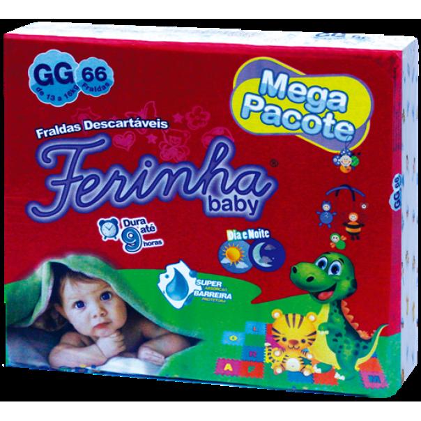 FRALDA INFANTIL FERINHA BABY MEGA GG COM 66 UNIDADES